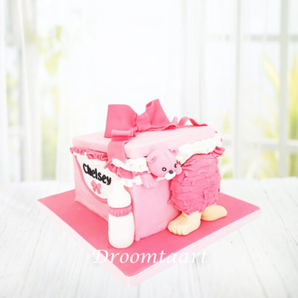 Droomtaart Babybox taart geboorte babyshower gender reveal