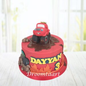 Droomtaart Blaze Trucks taart
