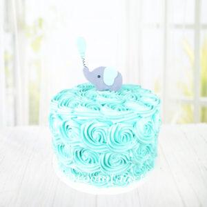 Droomtaart Botercreme taart met olifantje geboorte babyshower