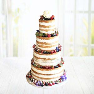 Droomtaart Bruidstaart Naked cake met bloemen en fruit