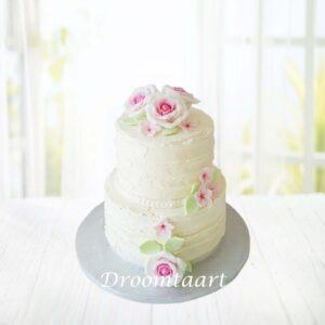 Droomtaart Bruidstaart botercreme met rozen 3