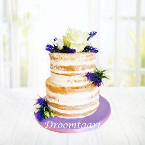 Droomtaart Bruidstaart naked cake lavendel
