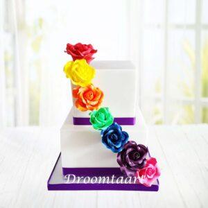 Droomtaart Bruidstaart regenboog rozen