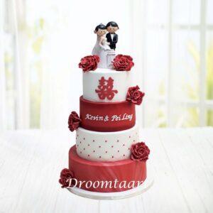 Droomtaart Bruidstaart wit rood met topper