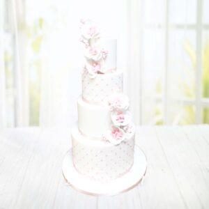Droomtaart Bruidstaart wit roze orchideeën