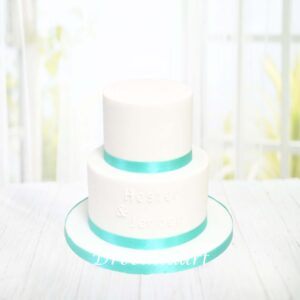 Droomtaart Bruidstaart wit turquoise