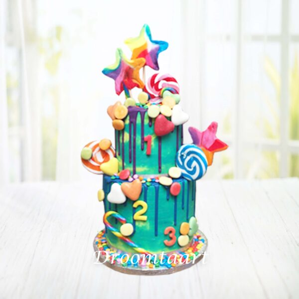 Droomtaart Candy drip cake taart