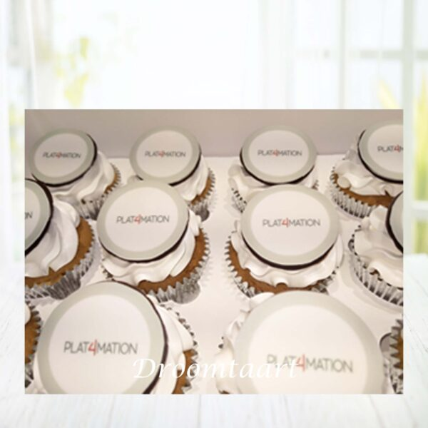 Cupcakes met logo rond