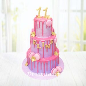 Droomtaart Drip cake macarons 2