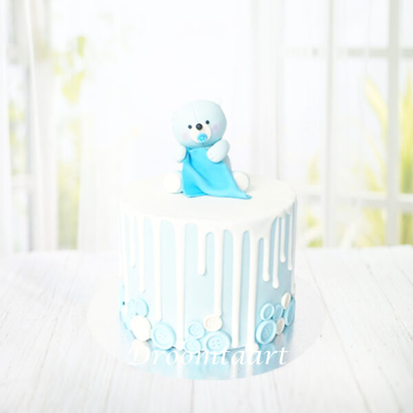 Droomtaart Drip cake met beertje geboorte babyshower gender reveal