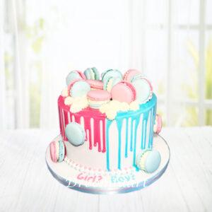 Droomtaart Drip cake met macarons gender reveal