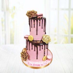 Droomtaart Drip cake roze goud