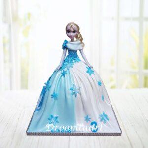 Droomtaart Frozen Elsa barbie taart 3