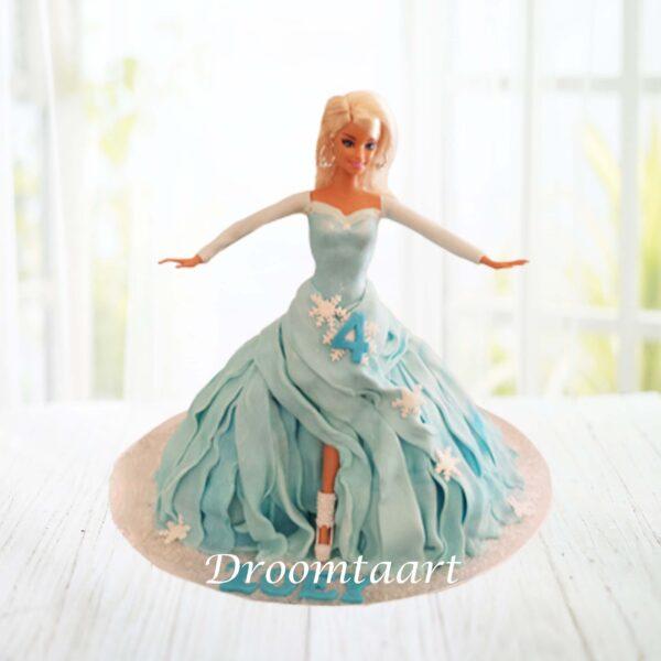 Frozen Elsa barbie taart 1