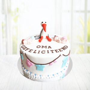 Droomtaart Ik ben zwanger taart babyshower gender reveal