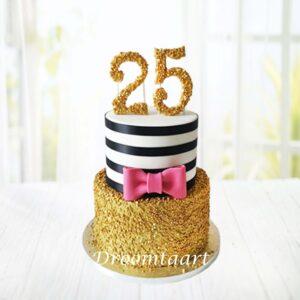 Droomtaart Leeftijd taart goud roze strik
