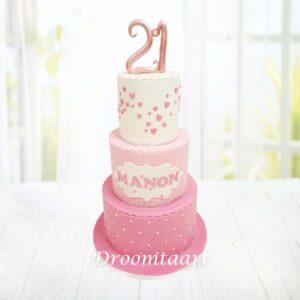 Droomtaart Leeftijd taart hartjes roze