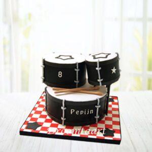 Droomtaart Muziek taart drumstel