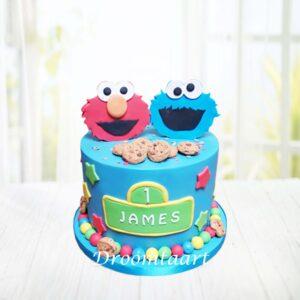 Droomtaart Sesamstraat taart Koekiemonster Elmo