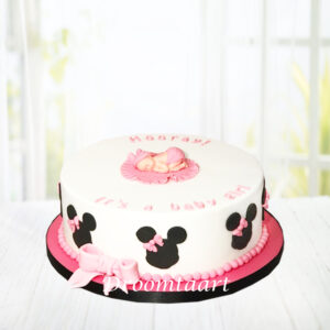 Droomtaart Taart baby Minnie of Mickey Mouse geboorte babyshower gender reveal