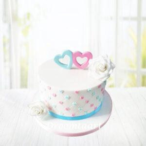 Droomtaart Taart met hartjes en rozen geboorte babyshower gender reveal