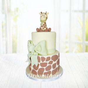 Droomtaart Taart met girafje geboorte babyshower gender reveal