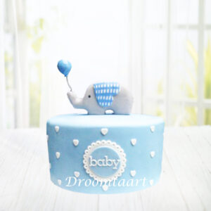 Droomtaart Taart met olifantje 1 geboorte babyshower gender reveal