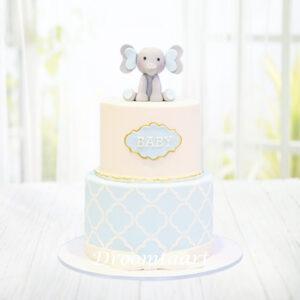 Droomtaart Taart met olifantje 6 geboorte babyshower gender reveal