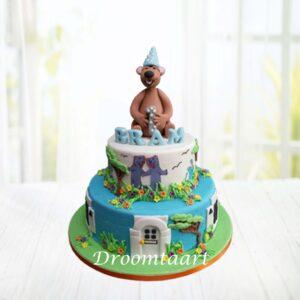 Droomtaart Bruine beer blauwe huis taart