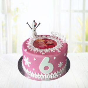 Droomtaart Frozen taart 5 roze